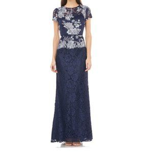 JS Collections Navy Floral Lace Gown